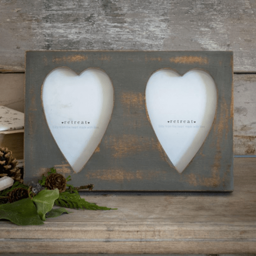 Gorgeous Shabby Chic Grey Double Heart Photo Frame