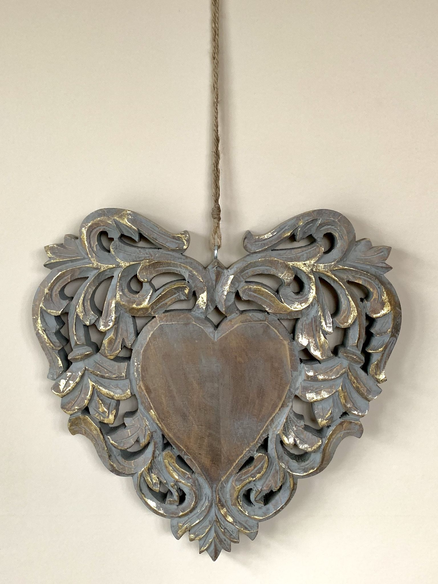 Large Grey Gold Decorative Wooden Hanging Heart