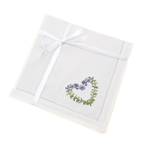 So Pretty! Set of 2  'Floral Heart' Hand Embroidered Napkins